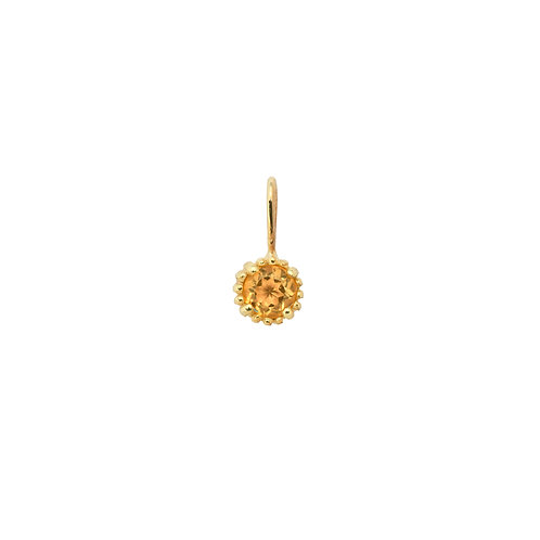 November Birthstone Necklace Charm Citrine 14K