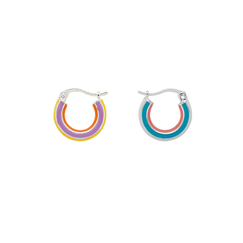 Rainbow Ring Earrings Silverplated
