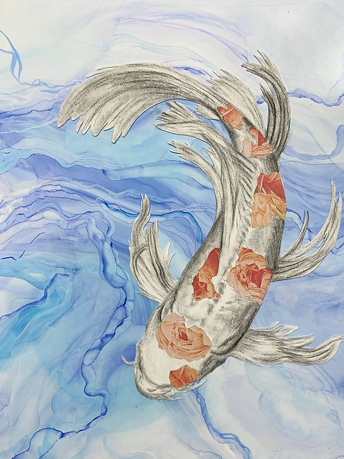 """""""Koi"""" Charcoal and Alcohol Ink 9x12"""""""