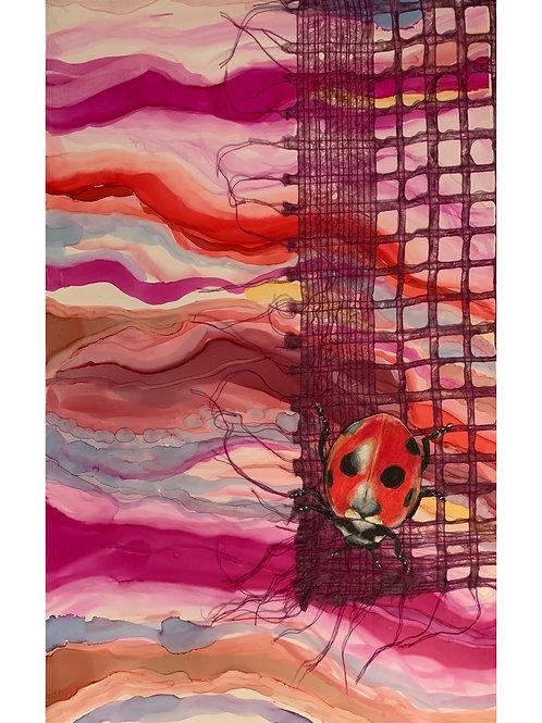 """""""Ladybug on a Screen"""" Mixed Media Study 12x16"""""""