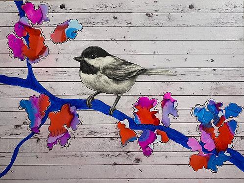 """""""Bird and Flowers III"""" Mixed Media 9x12"""""""