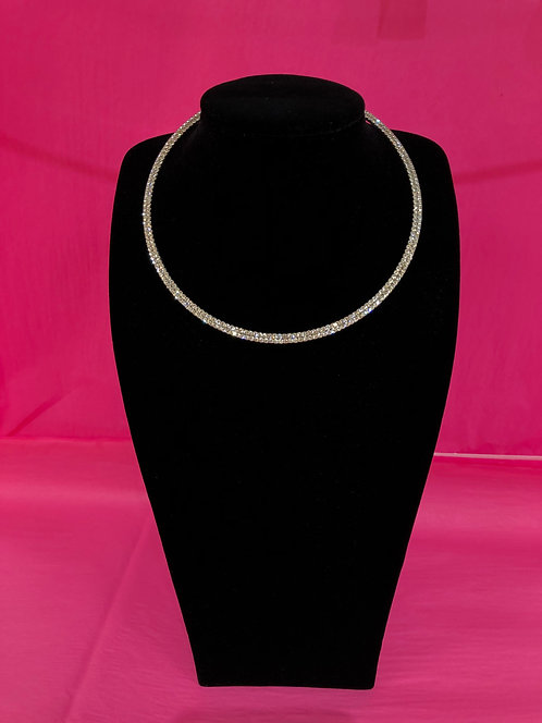 Double Stranded Silver Crystal Necklace