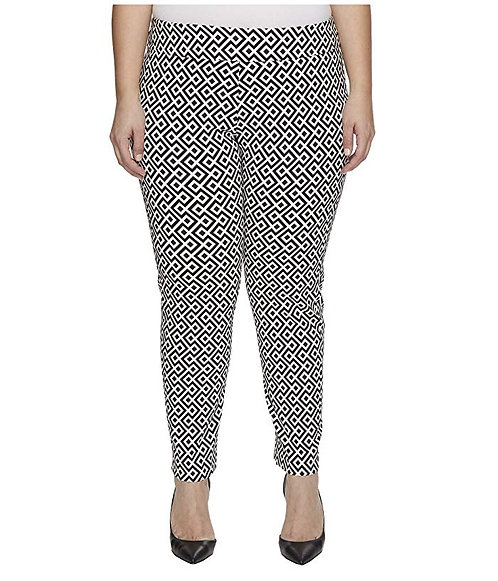 Krazy Larry Pull On Pant - Black And White Geometric (Plus Size)
