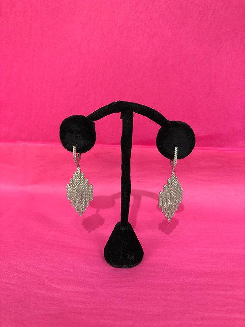 Diamond Shaped Silver Crystal Dangle Earrings