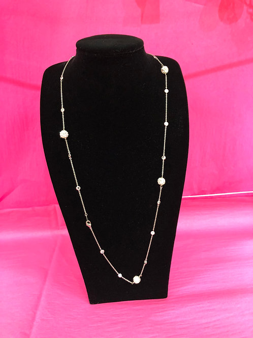 Long Gold Necklace with Crystal Ball Detail