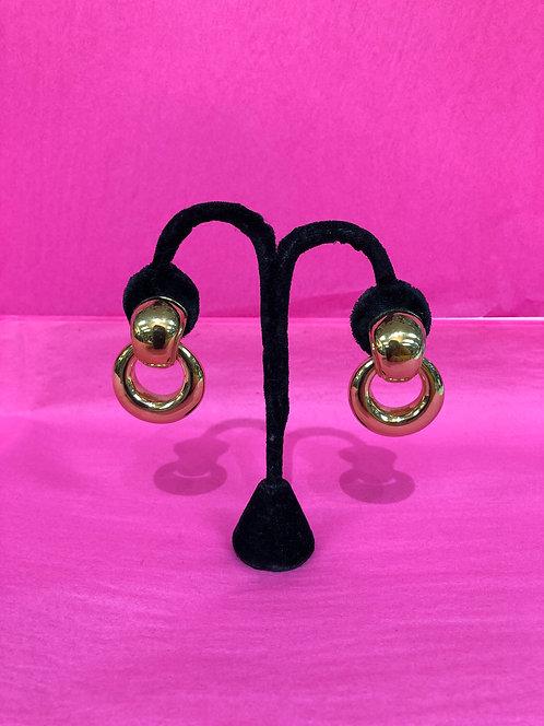 Simon Sebbag Gold Coated Clip On Round Earrings