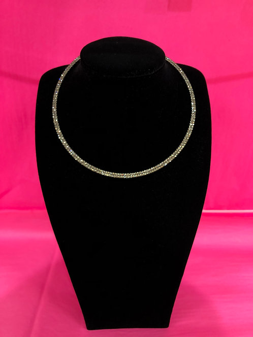 Double Stranded Pewter Crystal Necklace
