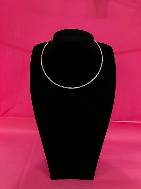 Single Stranded Silver Crystal Necklace