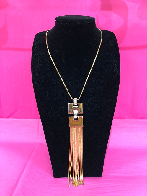 Gold Long Necklace With Gold/Crystal Detail