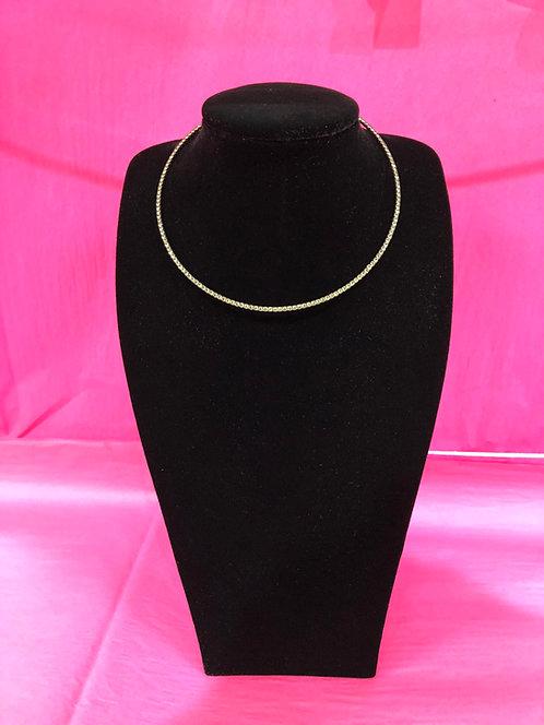 Single Stranded Pewter Crystal Necklace