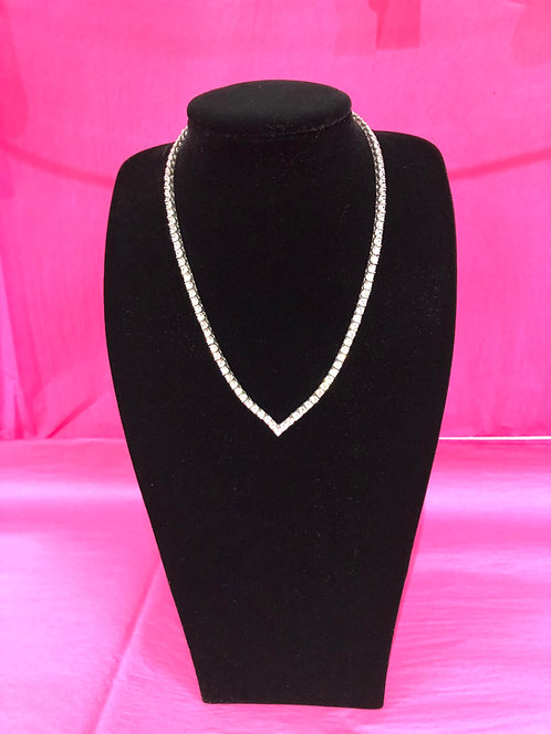 Silver Swarovski Crystal Necklace With Pointed Bottom Accent