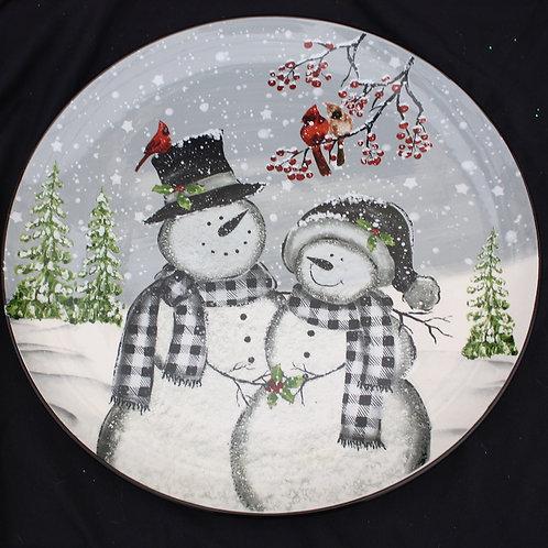 Snowman Couple Plate