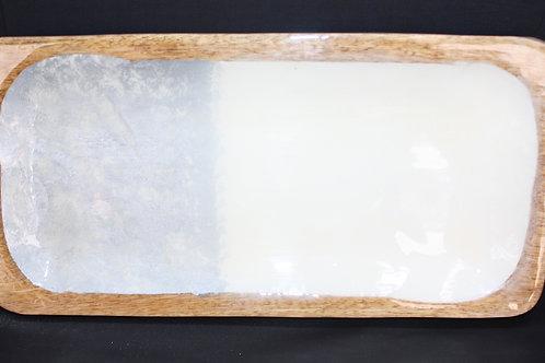 Rectangular Wooden Plate with Enamel Facing