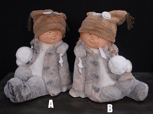 Faux Fur Clad Figurines with Snowballs