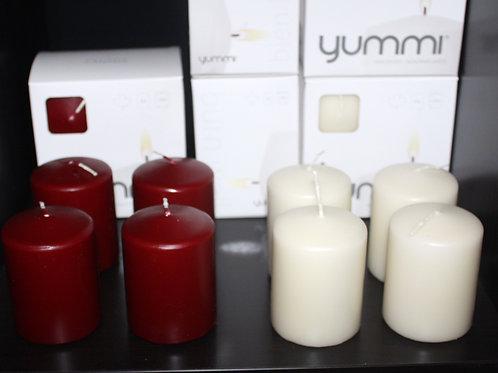 Yummi 4-pack 3-inch x 2.25-inch wax pillar candle