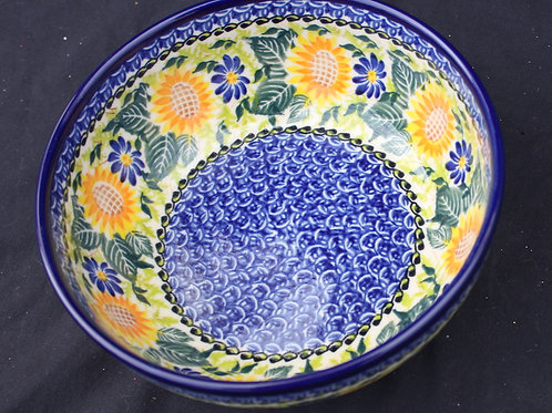 Polish Pottery - Sunflower and Daisies Bowl
