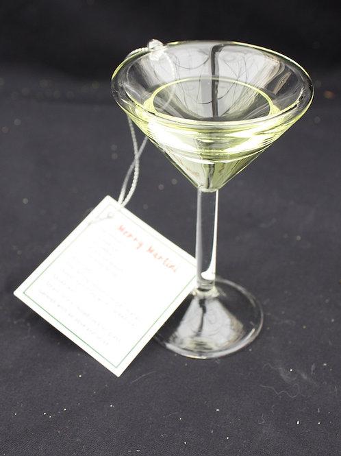 Merry Martini glass ornament