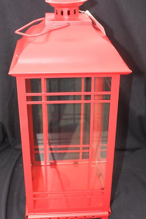 Red Metal Candle Lantern - large