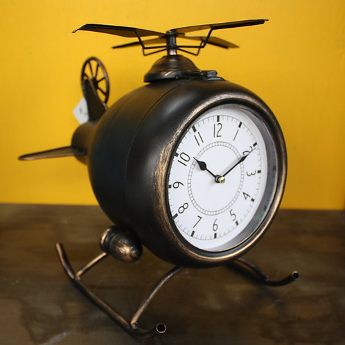 Metal Helicopter Ornament with Clock