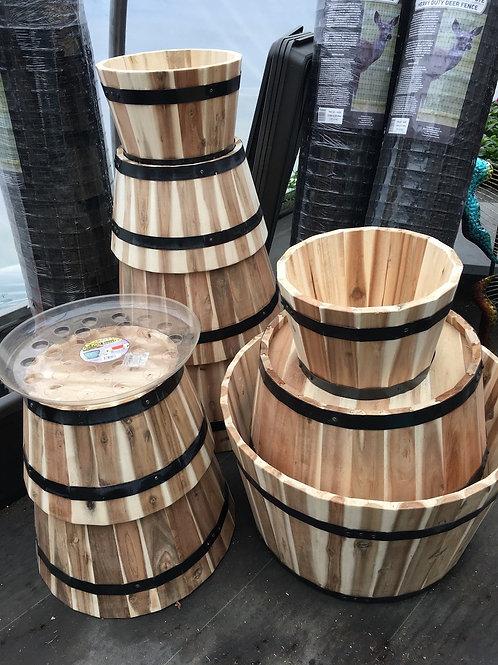Wooden Half Barrel planter - medium