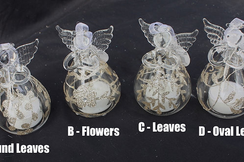 Glass LED Angel candle ornaments - 4-inch size