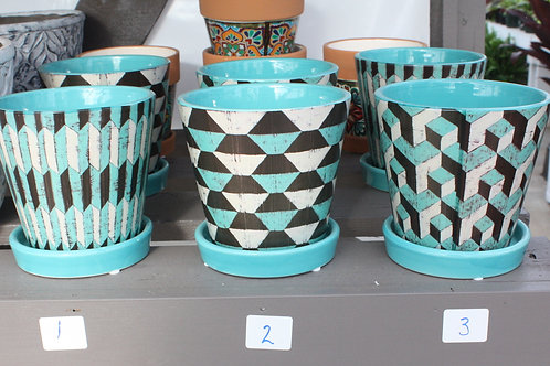 Turquoise Tapered Pot with Geometric Pattern