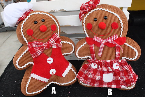 Standing Cordoroy Gingerbread Couple