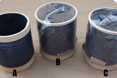 Navy Blue Raised Pattern pot - large