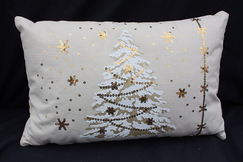 Pillow - Ivory with Gold Christmas Tree