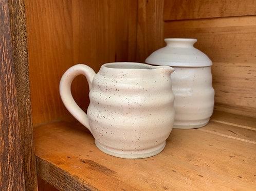 Handmade Pottery - Cream and Sugar - White