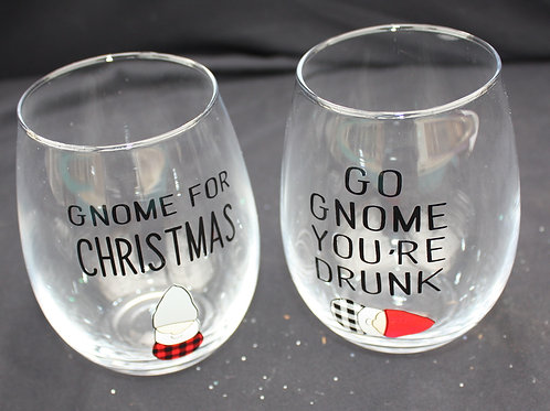Stemless Wine Glasses - Gnome themed