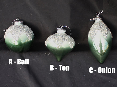 Green Glass Ornaments with Sparkle Tops