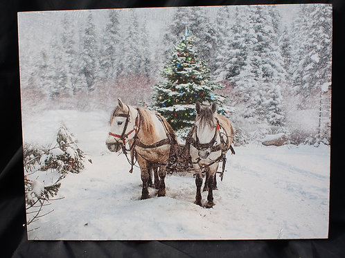 Draft Horses Pull Sleigh with Tree LED canvas