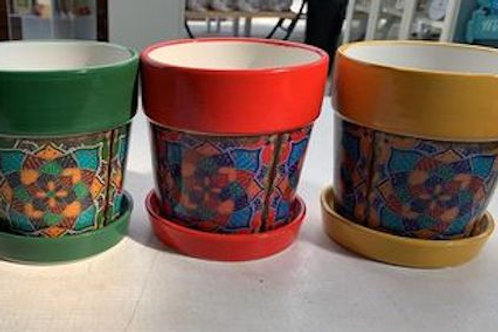 Coloured pot with mosaic body - 5.5 inch