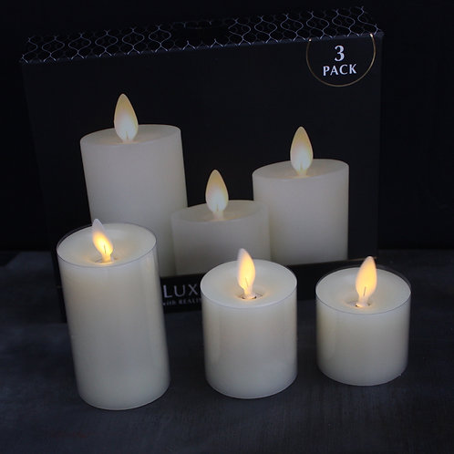 3-pack of LED Wax Pillar Candles
