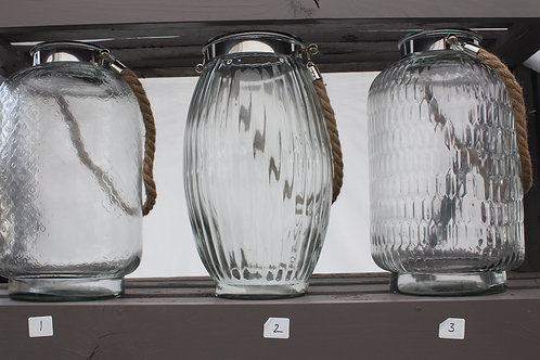 Glass Lantern with Rope Handle - Tall