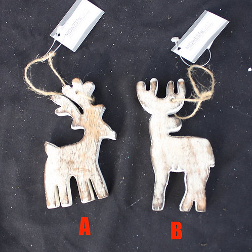 Wooden Stag Ornaments
