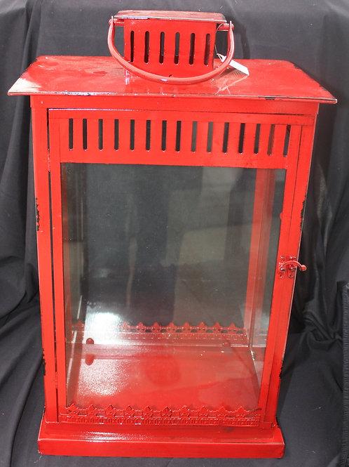 Red Boxy Metal Candle Lantern - large