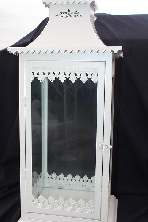 White Metal Candle Lantern - large