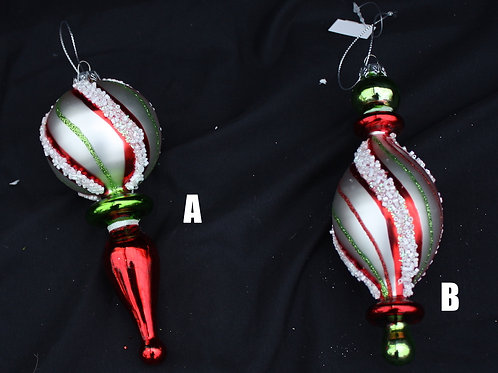 Red, White and Green Glass Finials