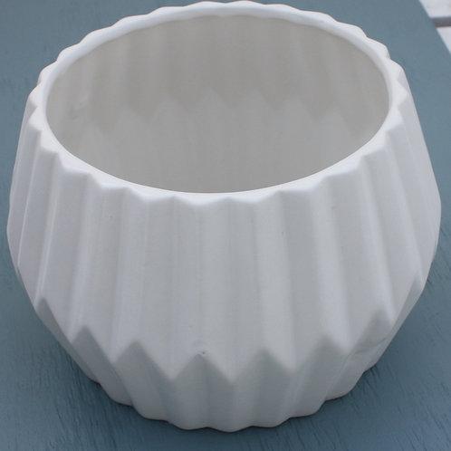 White Round Scalloped Planter