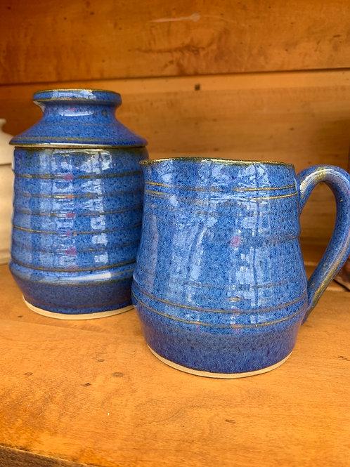 Handmade Pottery - Cream and Sugar - Blue