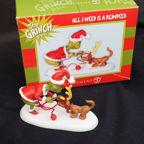 Grinch - All I Need Is A Reindeer shelf ornament