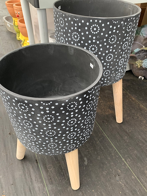 B&W Polka Dot Planter with legs -large