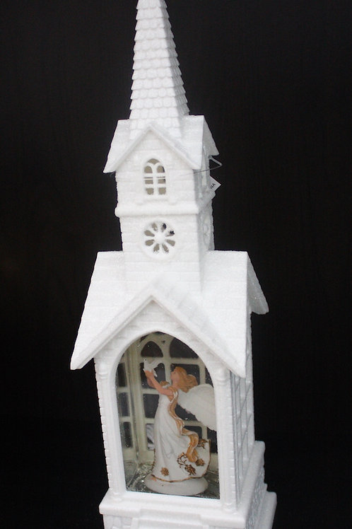 Illuminated Snowglobe-Style Church with Angel