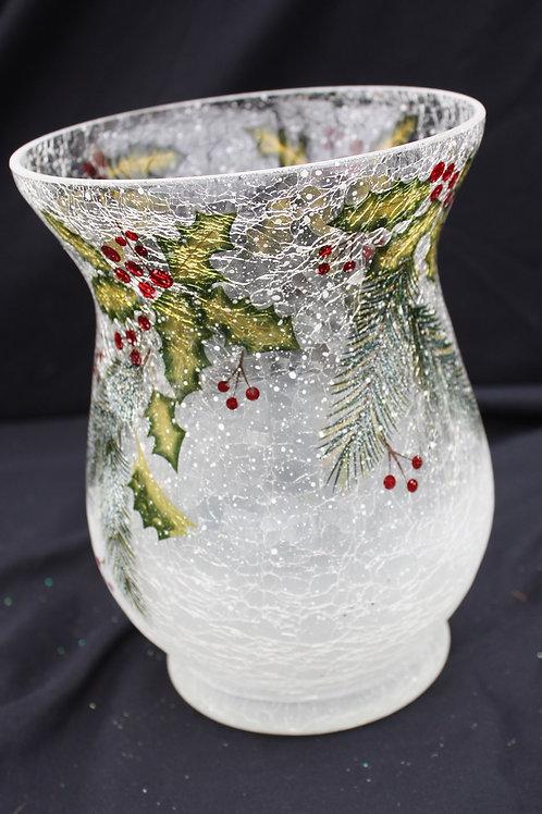 Fluted Holly Crackle Glass Vase