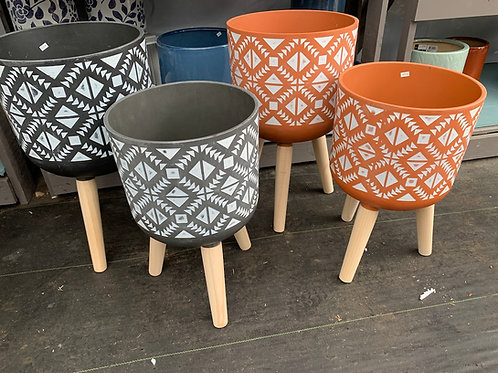 Aztec Patterned Planter with legs - large