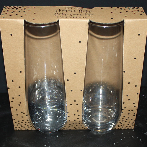 Set of 2 Smoky Stemless Flutes