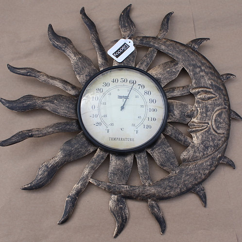 Metal Sun and Moon Thermometer