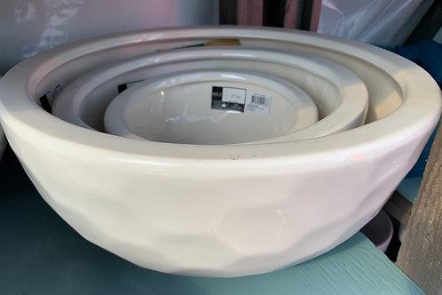 White dimpled pot - medium bowl-shaped